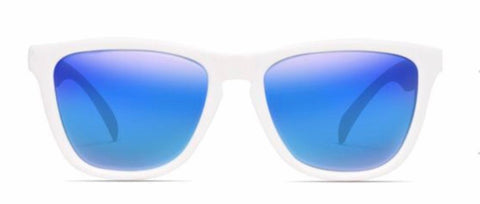 Nectar Sunglasses: Crux White/Blue Polarized