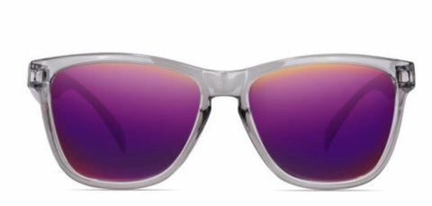 Nectar Sunglasses: Crux Clear Grey/Purple Polarized