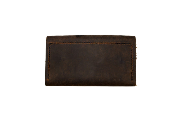 Thick Skin Leather Long Wallet Dark Brown