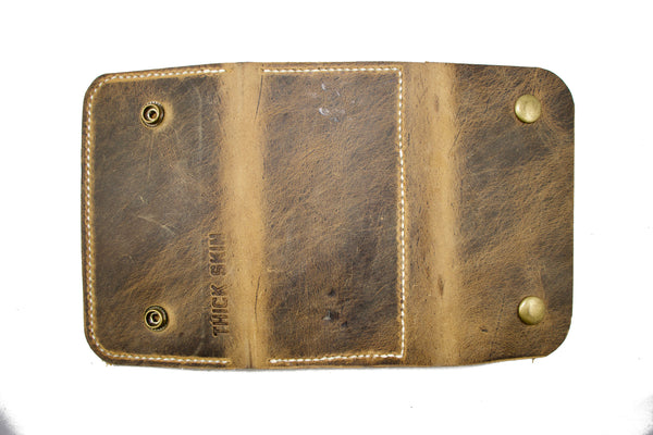 Thick Skin Leather Long Wallet Light Brown