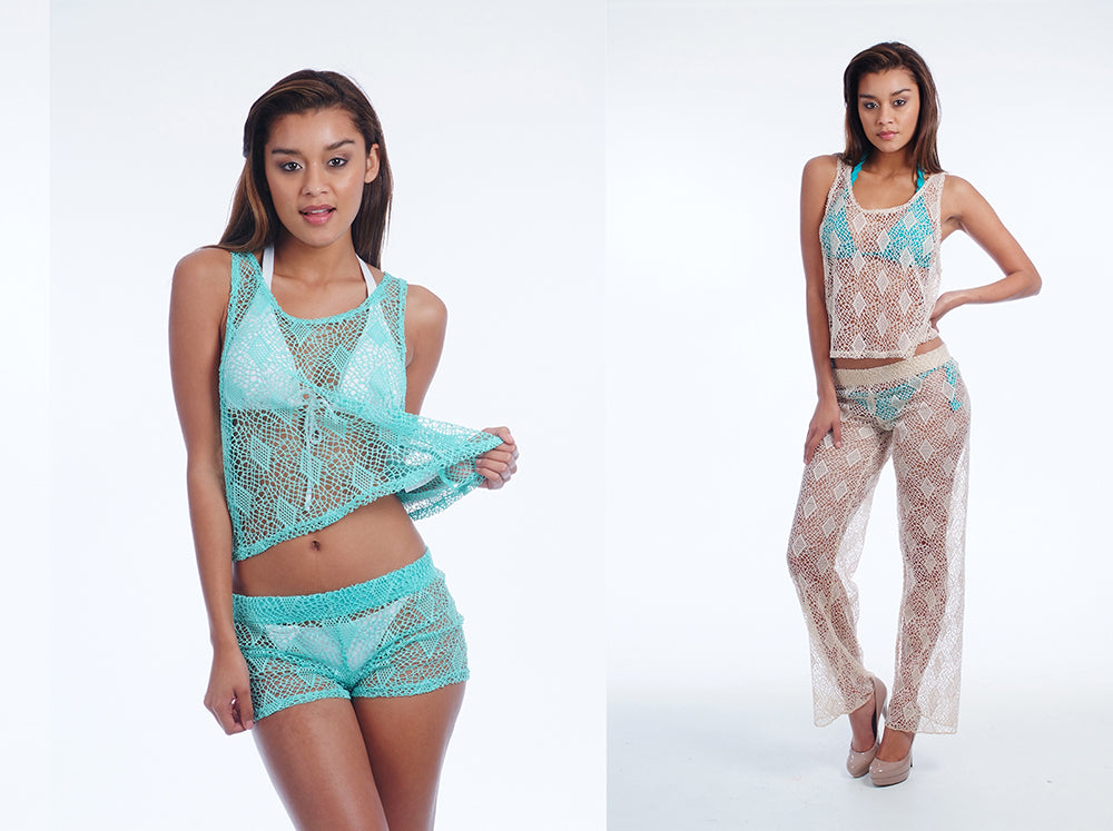 Crochet Cover Up Pants Shorts Miami Style