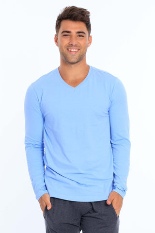 Men's Lycra Long Sleeve V-Neck T-Shirt