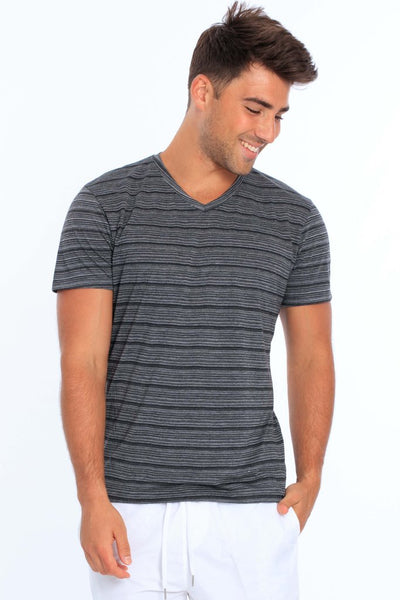 Men's Injected Yarn V Neck T-Shirt