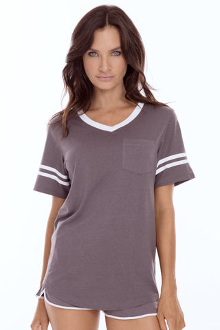 V-Neck T-Shirt with Sporty Stripes and Pocket