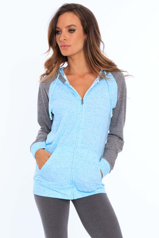 Women's Oversized 2-Color Triblend Zip-Up Hoodie