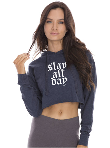 Slay All Day Cropped Long Sleeve Hoodie