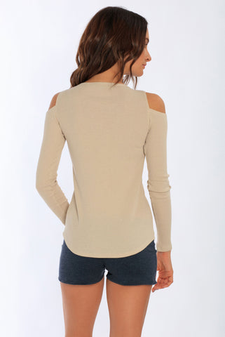Miami Style® - Women's Long Sleeve Cold Shoulder Rib Top