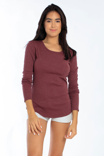 Miami Style® - Women's  Long Sleeve Fitted Rib Top