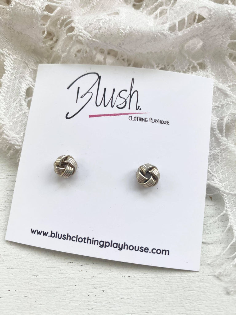 Small Silver Knot Studs