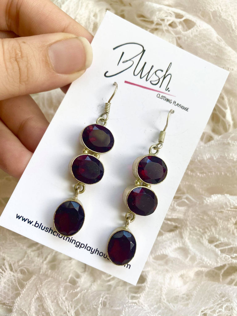 Garnet & Silver Drop Earrings