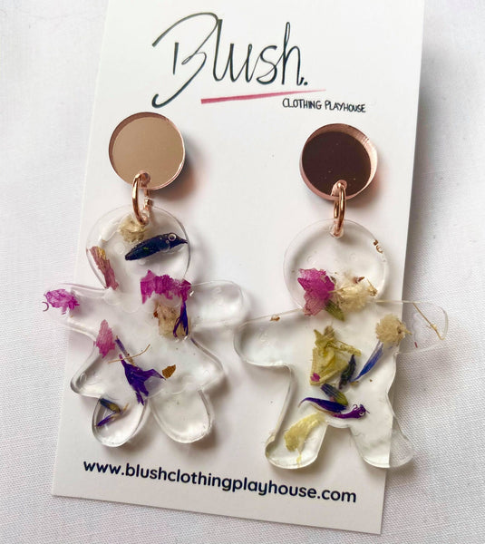 Gingerbread Man Floral Earrings