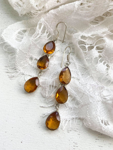 Citrine & Silver Drop Earrings