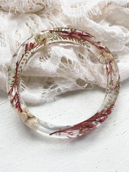White & Red Floral Bangle