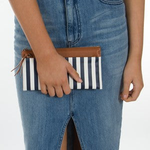 Navy and White Striped Wallet