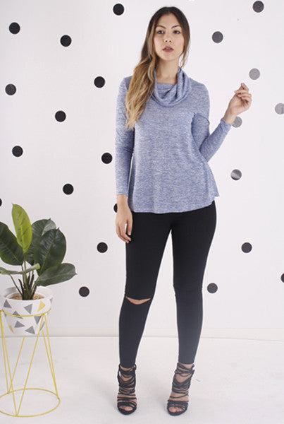 Blue Long Sleeved Cowl Top - Blush Clothing Playhouse