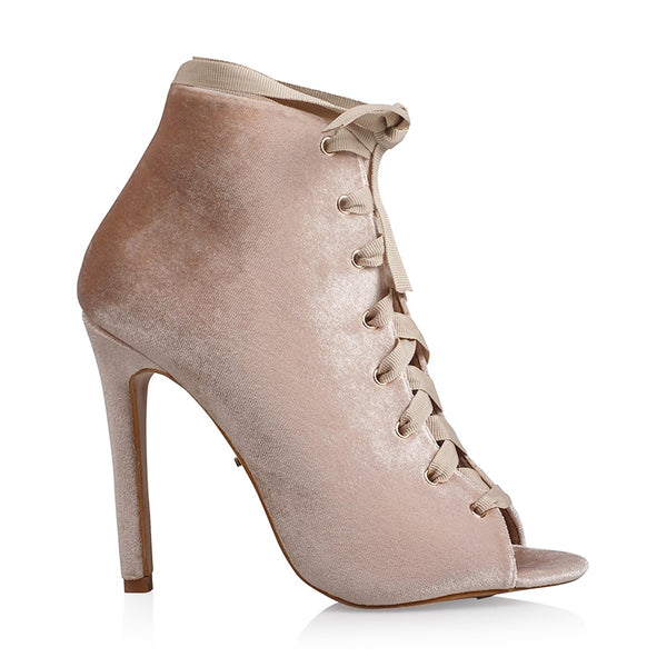 Abbi Velvet Lace-up Boots - Blush Clothing Playhouse