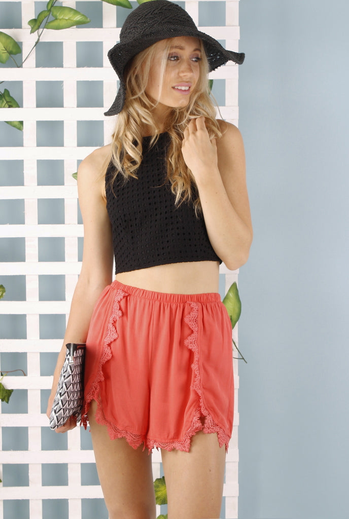 Jazmine Lace Trim Shorts - Coral