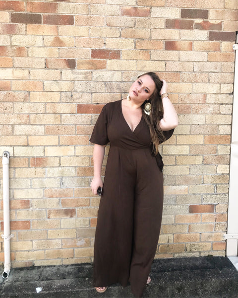 Charlotte Jumpsuit in Dark Brown - Blush Clothing Playhouse