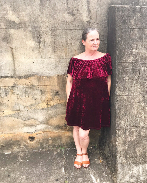 Hannah Velvet Dress in Burgundy