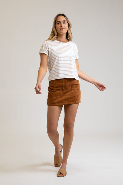Rumble Cord Mini Skirt Caramel
