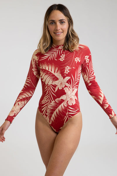 Mahina Long Sleeve One Piece Scarlet