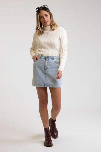 A-Line Denim Skirt Light Wash