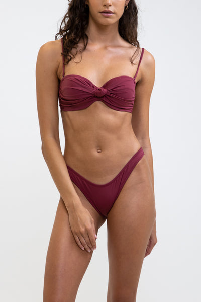 Knotted Bandeau Top Plum