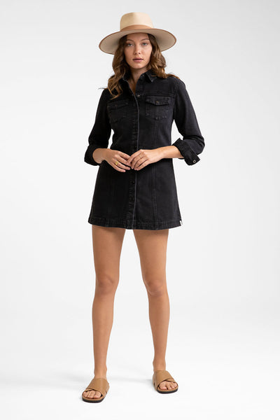 Alfa Long Slv Denim Dress Black