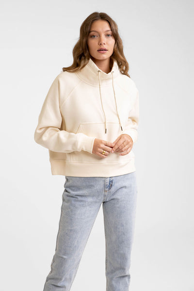Funnel Neck Fleece Off White