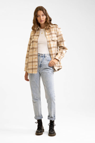 Vintage Button Up Shirt Jacket Sand