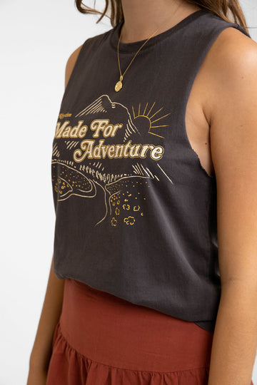 Adventure Vintage Muscle Tank Washed Black