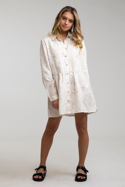 Banksia Long Slv Shirt Dress White