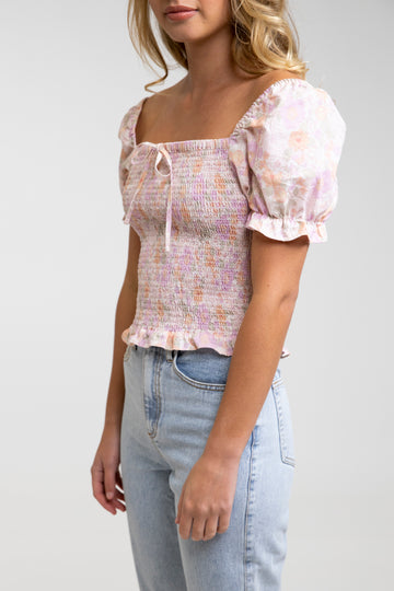 Melody Shirred Top Rose