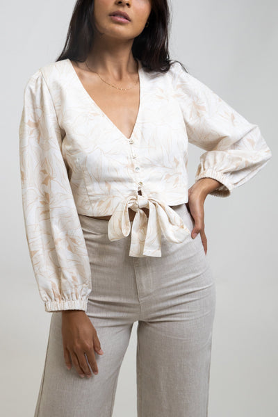 Banksia Tie Front Long Slv Top White