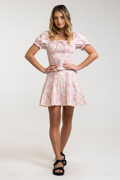Melody Tiered Mini Skirt Rose
