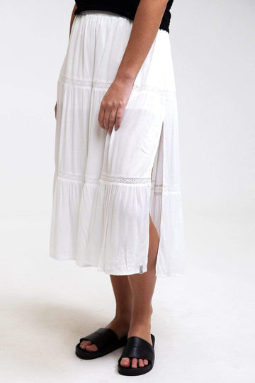 Lulu Tiered Midi Skirt White