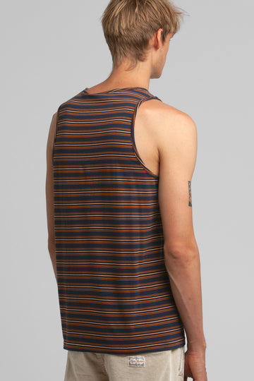 Everyday Stripe Singlet Indigo
