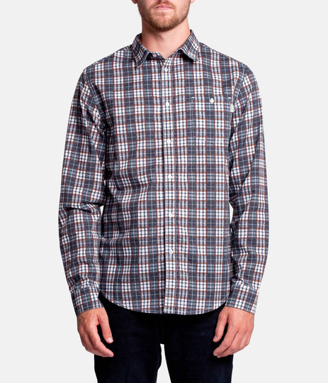 BRIGHTON LS SHIRT  NAVY /  TOBACCO