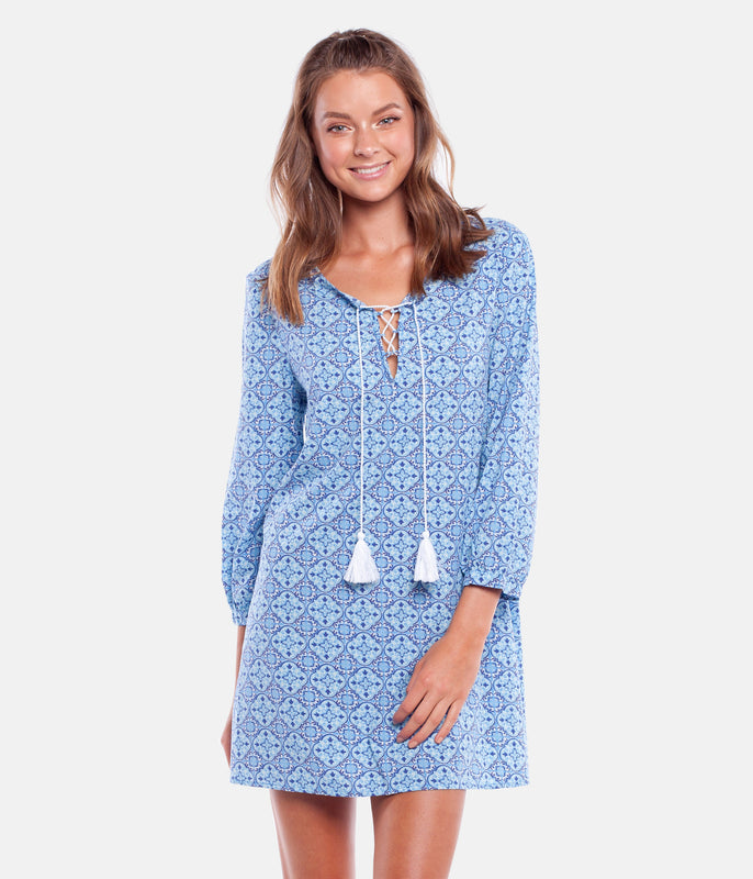 CENTURY L/S DRESS YVES BLUE