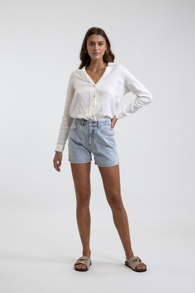 Classic A Line Denim Short Light Wash