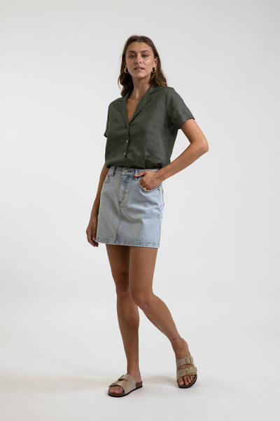 Classic A Line Denim Skirt Light Wash
