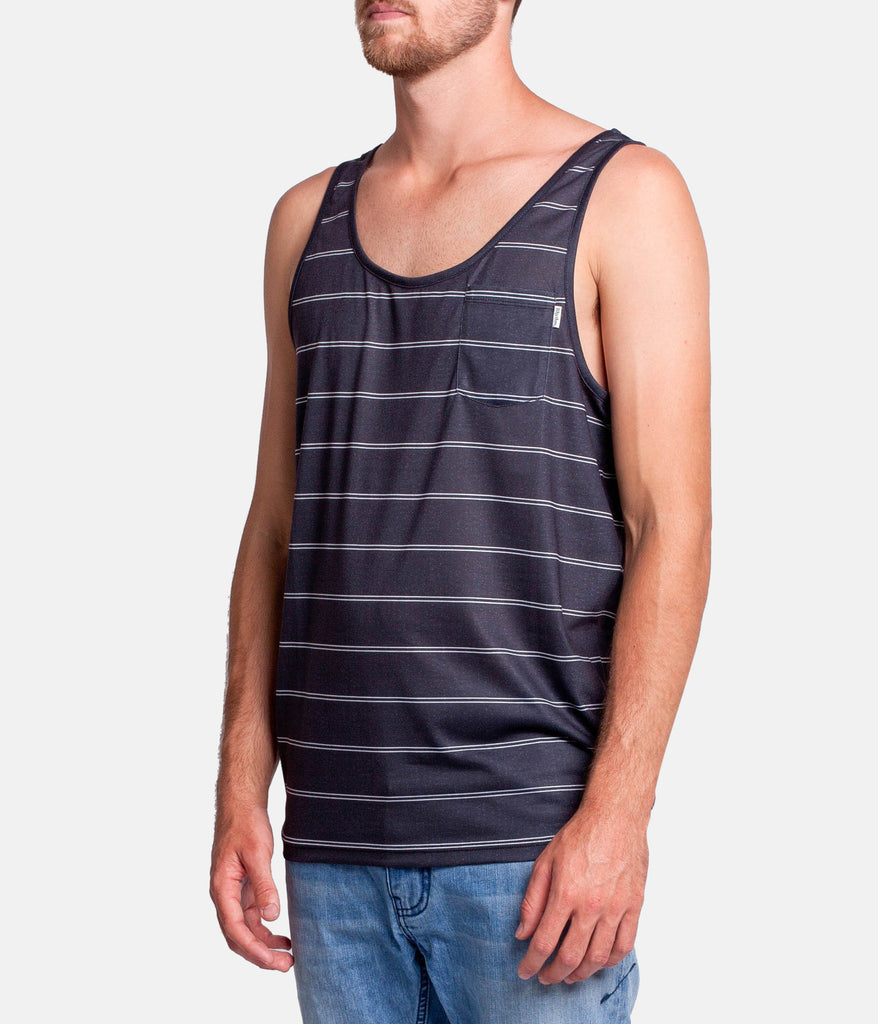 EVERYDAY STRIPE SINGLET BLACK