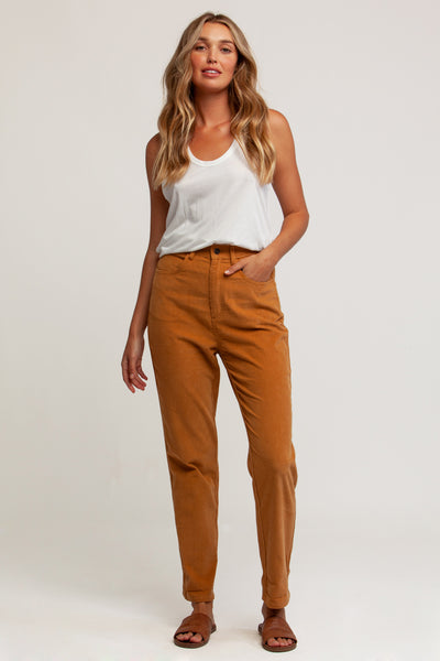 Hi Rise Tapered Cordoury Pant Tan