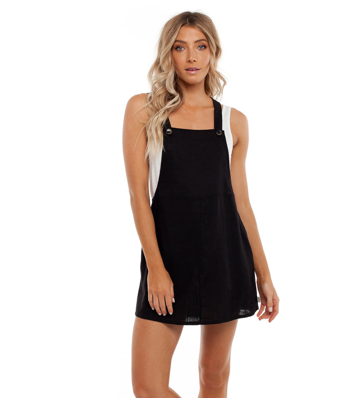 LAGUNA PINAFORE DRESS BLACK
