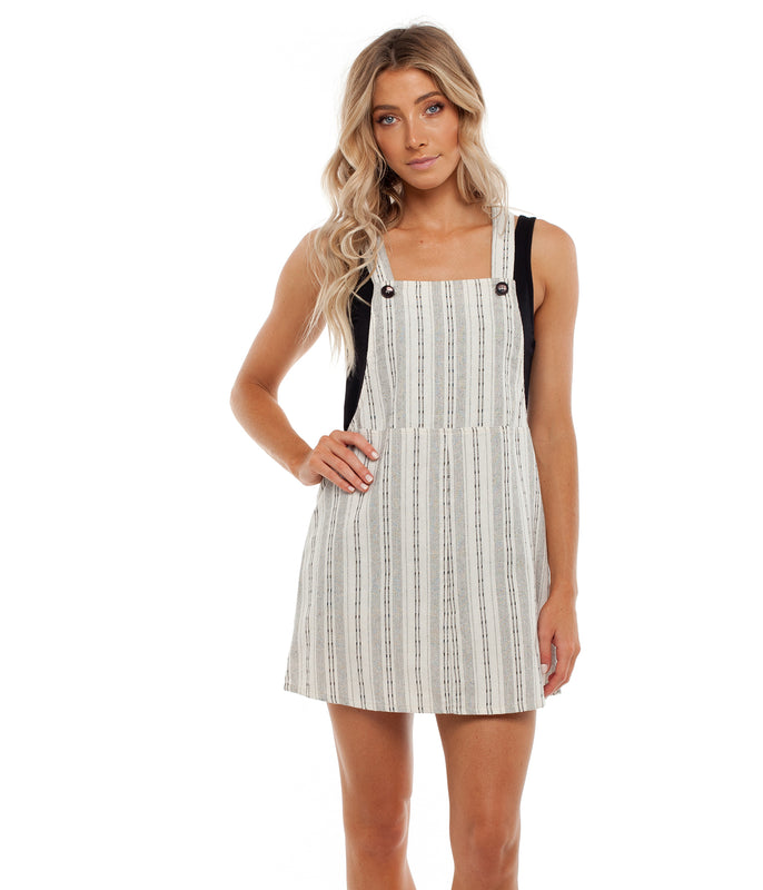 PANAMA PINAFORE DRESS WHITE