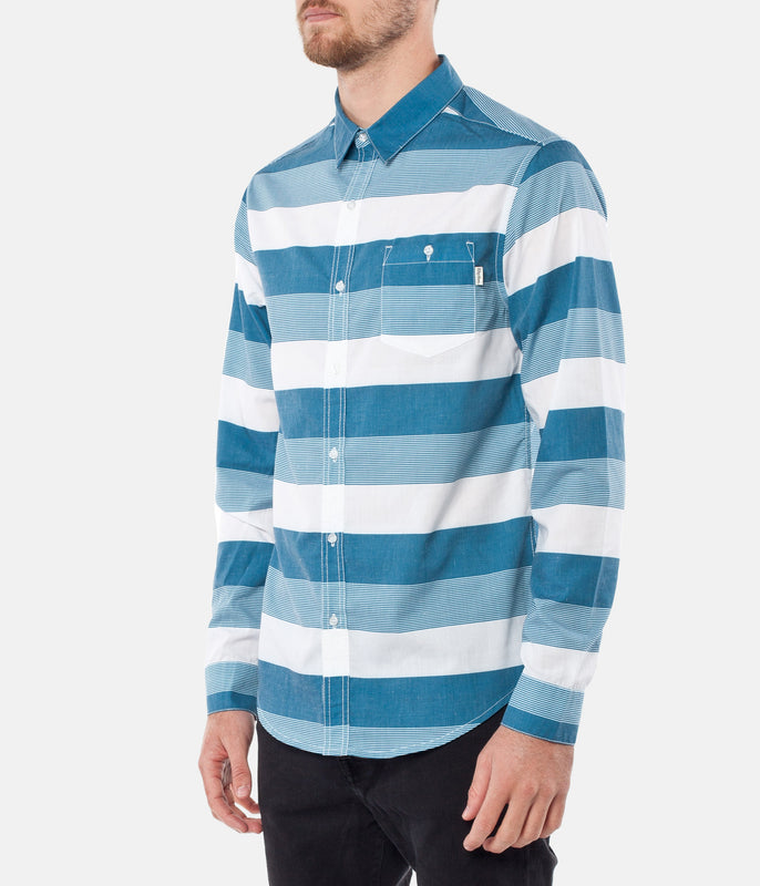 BOSTON STRIPE LS SHIRT BLUE