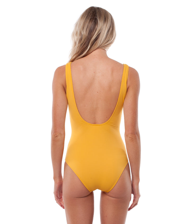 SUNCHASER LACE UP ONE PIECE MARIGOLD