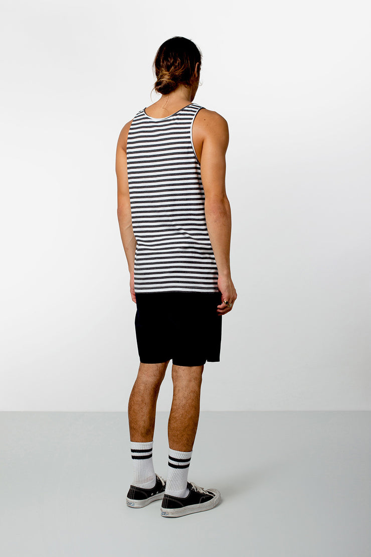 EVERYDAY STRIPE SINGLET CLASSIC CHARCOAL