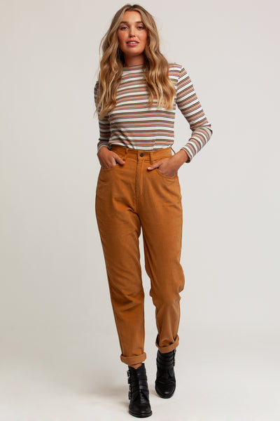 Jojo Long Sleeve Rib Top Desert