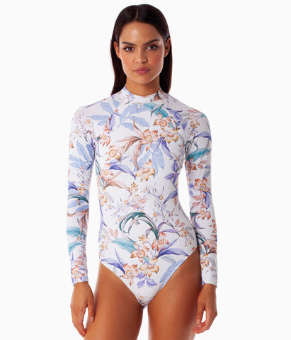 COPACABANA LONG SLEEVE ONE PIECE WHITE